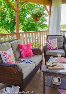 Our covered porch. Hanging flowering plants that cascade over the planter are gorgeous during the summer months.