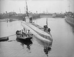 WWI - The captured German submarine UC5 moored at Sheerness