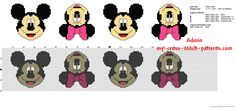 Bordo punto de cruz con Disney Mickey y Minnie Mouse 34 puntos