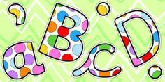Multicoloured Polka Dot Display Lettering Lowercase - display
