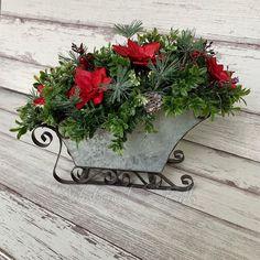 Sleigh with sola wood poinsettias (Sola Wood Flowers) Sola Wood Flowers, Poinsettia, Floral Wreath, Wreaths, Christmas, Ideas, Home Decor, Xmas, Decoration Home