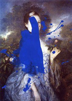 blue bomb / paint on laser print by Chad Wys art Art And Illustration, Collage Kunst, Blue Artwork, Ouvrages D'art, Claude Monet, Pablo Picasso, Art Design, Photomontage, Oeuvre D'art