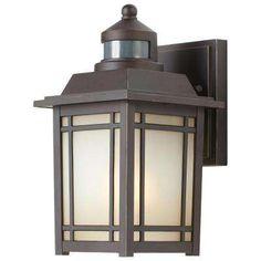 Port Oxford 1-Light Oil-Rubbed Chestnut Outdoor Motion Sensor Wall Lantern