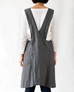 Linen pinafore apron dress for women in dark grey
