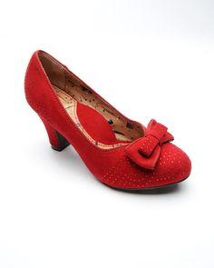 Suede Mid-Heel Pump with Swarovski Crystals in Red
