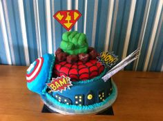 Super hero birthday cake! Hulk, Captain America, Spiderman, Wolverine and Batman