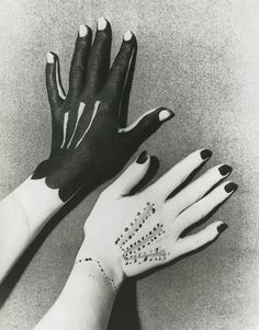 "Pablo Picasso (b. 1881 - d. Spanish), Paint painted on hands similar to gloves, for: ""Hands Painted by Picasso"", Photography by Man Ray - d. Herbert List, Homo Faber, Willy Ronis, Lee Miller, Elsa Schiaparelli, Louise Bourgeois, Poster S, Foto Art, Pablo Picasso"