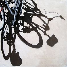 Two for One bicycle art city scene original oil painting, painting by artist Linda Apple