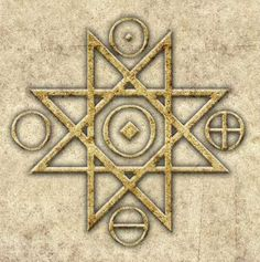 The four circles are consistant with the four elements of this planet earth, air, fire and water.  The octagram has always been a protection symbol, but the element in the center is still unexplained.