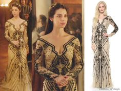 """In the episode 2x03 (""""Coronation"""") Queen Mary wears this sold out Monique Lhuillier Beaded Tulle Gown. Worn with Gillian Steinhardt labyrinth and signet rings, Pamela Love earrings."""