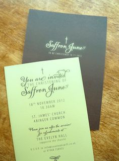 A 'Vintage Text' design printed on yellow card and printed with a solid chocolate brown on the reverse.