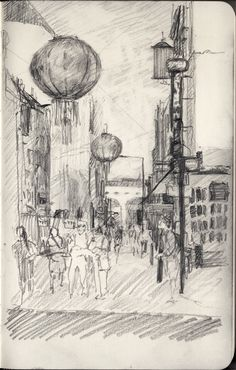 Francis Martin -   China Town SKETCHBOOK STUDY  - view from the Apollo theater - Piccadilly, LONDON   26/07/13 - graphite - 200 x 125 mm