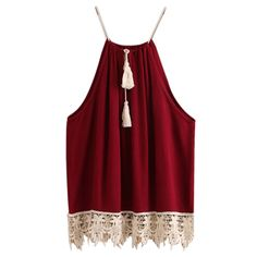 2017 New Arrival Fashion Women Lace Trimmed Tasselled Drawstring Blouse Wine Red Tops shirt Sleeveless Patchwork blusa feminina #Affiliate