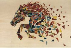 Artículos similares a Marquetry of art/horse in the galop/réalisée with several wooden varieties /made in cm x 35 cm/CIAMARONE en Etsy Painted Horses, Geometric Drawing, Geometric Art, Polygon Art, Mosaic Wall Art, Horse Art, Animal Paintings, Wood Art, Collage Art