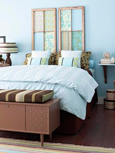 I have lots of windows!!!  BHG Two single window panels are the perfect alternative to an ordinary headboard. To get this look, find windows that measure approximately the width of your mattress. Remove the glass and install fiberboard or thin plywood over the back for safety. Cut fabric to fit each section and secure it in place with spray adhesive.