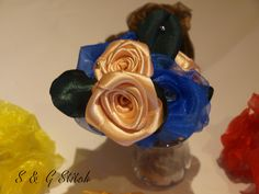 Rosenbouquet in Rosa - Blau !