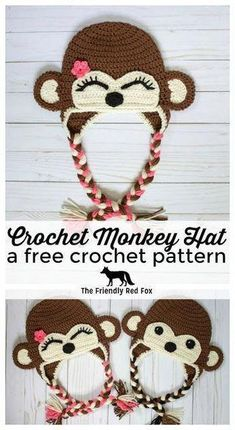 Free Crochet Monkey Hat Pattern - The Friendly Red Fox. In toddler, child, and teen/adult size! Free Crochet Monkey Hat Pattern - The Friendly Red Fox. In toddler, child, and teen/adult size! Crochet Monkey Hat, Crochet Animal Hats, Crochet Kids Hats, Crochet Beanie Hat, Beanie Pattern, Crochet Crafts, Crochet Projects, Free Crochet, Crocheted Hats