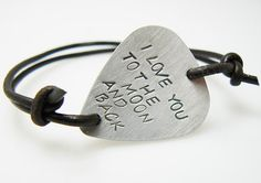 Hand Stamped Guitar Pick Bracelet, I love you to the moon and back, custom BFF bracelet, gift for friend, sisters on Etsy, $12.00