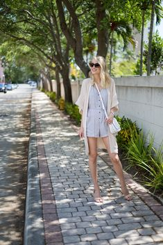 Little Blonde Book by Taylor Morgan | A Life and Style Blog : Striped Romper & Oversized Cardigan