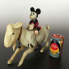 Vintage Japan Celluloid Diesney Micky Mouse Goat Tin Wind Up Toy Check Video   eBay