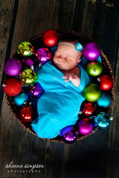 Newborn Christmas photo- so cute! But with tissue paper maybe...?