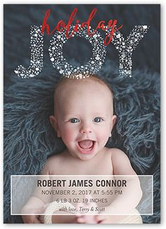 Simply Joyful 5x7 Christmas Birth Announcements by Between Friends