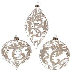 "RAZ Imports - 4"" Opalescent Swirled Design Christmas Tree Ornaments - Set of 3"
