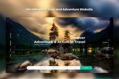HeroHeader for Tour and Adventure Website Template PSD Html Website Templates, Tours, Adventure, Places, Travel, Design, Viajes, Destinations, Lugares
