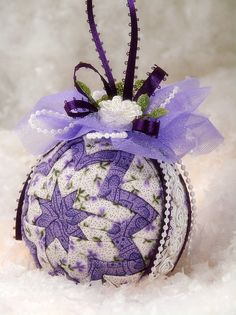 Quilted Ornament Ball Purple