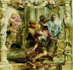 """This painting represents the death of Achilles by Paris.  It is by Peter Paul Rubens and is titled """"The Death of Achilles.""""  It was completed sometime between 1630 - 1635 and hangs in the Museum Boijmans Van Beuningen, in Rotterdam."""