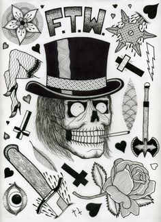 tattoo flash sheets by david cook