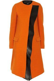 Neil Barrett Leather-trimmed wool-blend coat | NET-A-PORTER