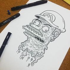 Instagram #skateboarding photo by @black_dog_designs - Mario is looking pretty gnarly right here. #mario #supermario #nintendo #unipin #pittartistpen #ink #skateboard #skateboarding #weirdart #popsurrealism #penart #pendrawing #tattooart #illustrator #lineart #blackandwhite #drawing #lowbrowartist #lowbrow #juxtapoz #handpoke #gnarly #illustration #doodle #graphicdesign #cool #gross #supermariobros #art #instaart. Support your local skate shop: SkateboardCity.co
