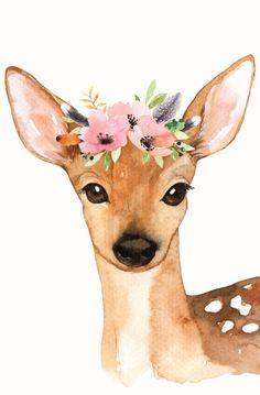 Flower Crown Deer Print – Loomwell Home Goods Watercolor Deer, Watercolor Animals, Baby Animal Drawings, Cute Drawings, Crown Painting, Deer Drawing, Art Mignon, Watercolor Paintings For Beginners, Deer Art