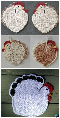 Crochet Speckled Hen Potholder Free Pattern - Crochet Chicken Free Patterns