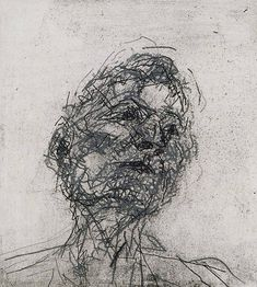 """immafuster: """"by Frank Auerbach - Portrait of Lucian Freud, 1981 etching """""""