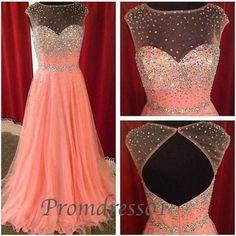 2015 cute orange red chiffon + tulle modest open back long prom dress for teens, homecoming dress, evening dress, graduation dress #promdress