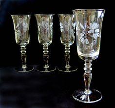 Vintage Wine Goblets, Etched Crystal Trumpet Champagne Glasses, Set of 4, Floral Laurel Design, Vintage Barware, Formal Wine Stemware by SharetheLoveVintage on Etsy
