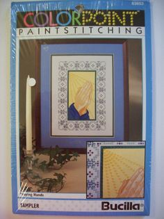 "PRAYING HANDS Colorpoint Paintstitching Bucilla Sampler 9""X12"" Sun Rays"