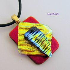 """""""Sun Worshiper"""" Dichroic Glass in Brilliant Layered Shapes and Colors Red, Yellow, Blue - By Glass Artist, Umeboshi, Glass Thumbs"""" on Etsy -- Dichroic Glass, Fused Glass, Stained Glass Designs, Handmade Bracelets, Handmade Jewelry, Handmade Gifts, Perfect Gift For Mom, Gifts For Mom, Mother Gifts"""