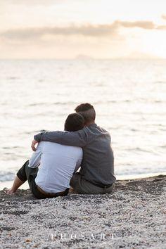 Love is love. Gay couple. Hug