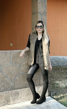 Faux leather leggins outfit, faux fur vest, winter look, fall outfit, over the knee boots