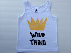 17$ sizes 2-8 There's a wild thing in everyone of us, especially our little ones. This tee is perfect for boys or girls. Perfect for the summer.    -Every tank is slightly different as it is hand printed.    -Unisex regular fit    -Size up if between sizes.    -Hand wash or machine wash cold inside out, hang dry