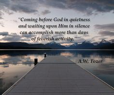 Coming before God in quietness and waiting upon Him in silence can accomplish more than days of  feverish activity. ~ A. W. Tozer