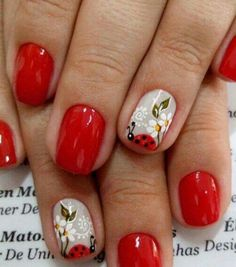 U New Nail Designs, Nail Designs Spring, Red Nails, Hair And Nails, Cute Nails, Pretty Nails, August Nails, Ladybug Nails, Feather Nail Art