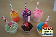 Pink and Green Mama: * Snow Day Craft: Pom-Pom Milk Shakes!