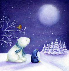 Ileana Oakley - Christmas Moon Polar Bear Penguin Robin Snow