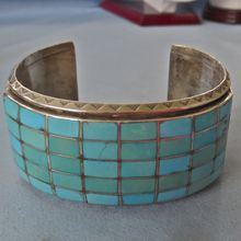 Bold Sterling Inlaid Turquoise Zuni Cuff -- Find vintage Native American jewelry at www.rubylane.com