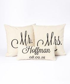 Another great find on #zulily! Black Type Personalized Name & Date Pillow Cover Set #zulilyfinds