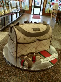 This is such a cute baby birthday cake Baby Boy Cakes, Baby Shower Cakes, Baby Shower Themes, Shower Ideas, Shoe Box Cake, Shoe Cakes, Nike Cake, Diaper Bag Cake, Gucci Baby